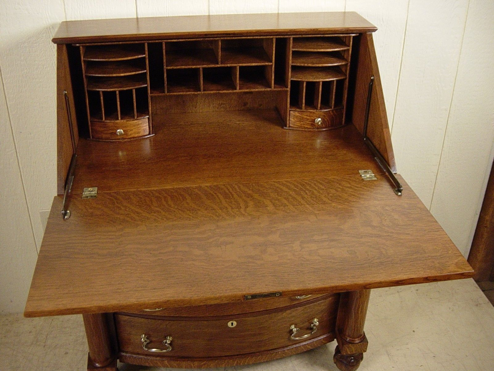 High Quality Front Office Table. Antique Oak Drop Front Desk Office Table E