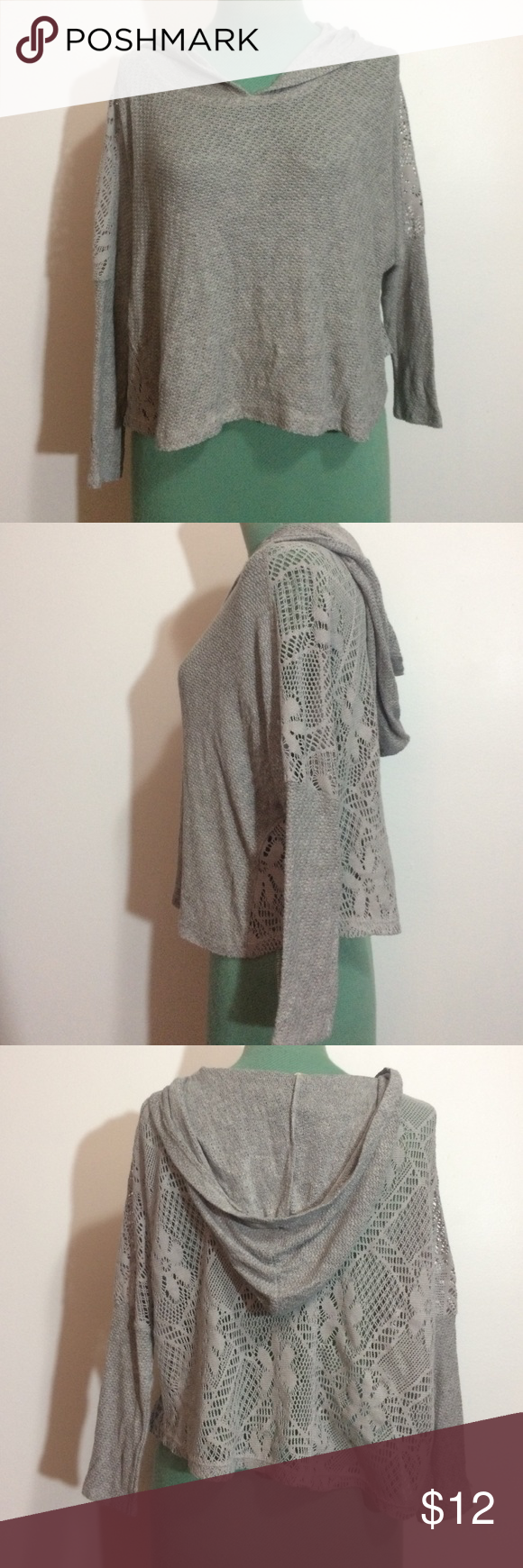 Hollister Oversized Cropped Sweater Hooded gray knit sweater from ...