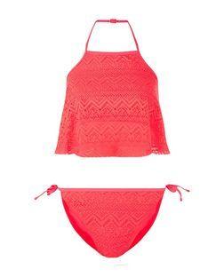 Teens Coral Crochet Bikini Set | New Look