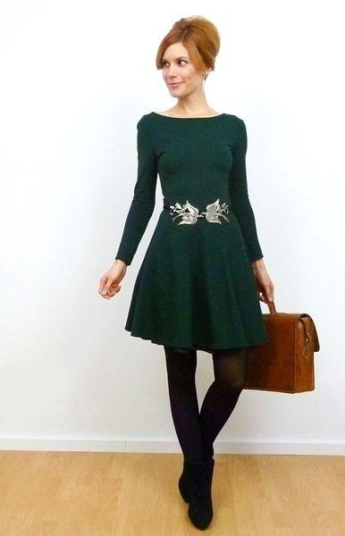 Romi Winter Jersey Kleid Tellerrock Jägergrün Von Vampire Vintage