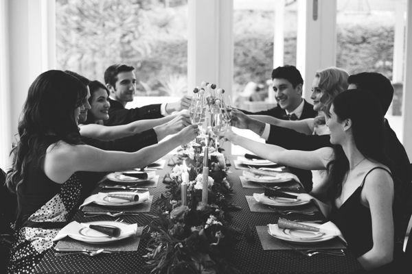 Cheers to a happy wedding - with  such a small grow at dinner - I like this photo shot.