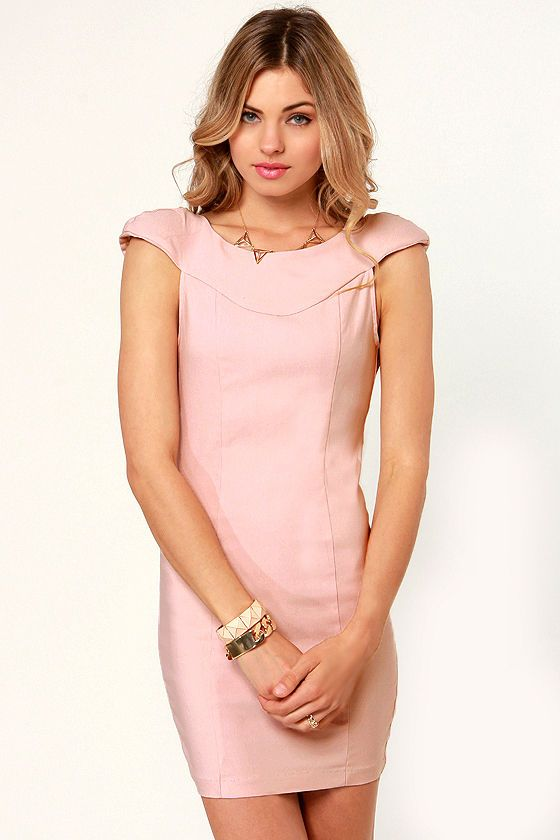 404762173180 Sexy Light Pink Dress - Backless Dress - Shoulder Pad Dress - $37.50