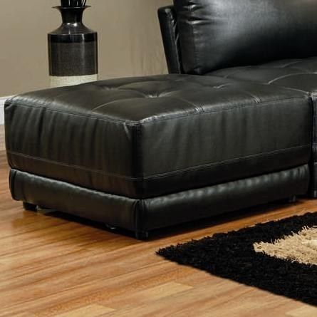 Coaster Bonded Leather Square Tufted Ottoman (Black)