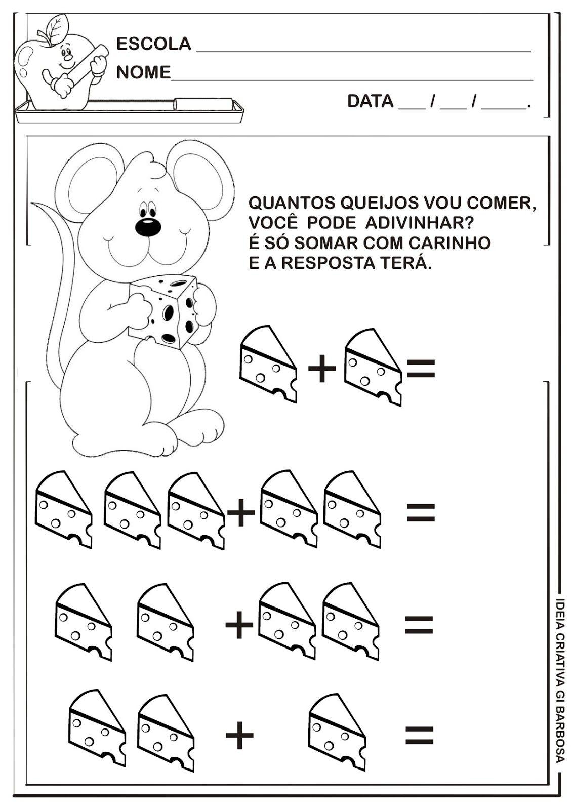 Matematica Infantil Atividade De Adicao Ratinho Com Queijo