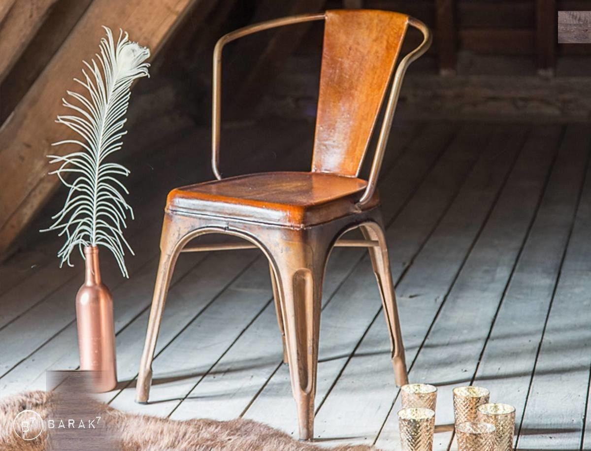 chaise industrielle cuir et cuivre avec