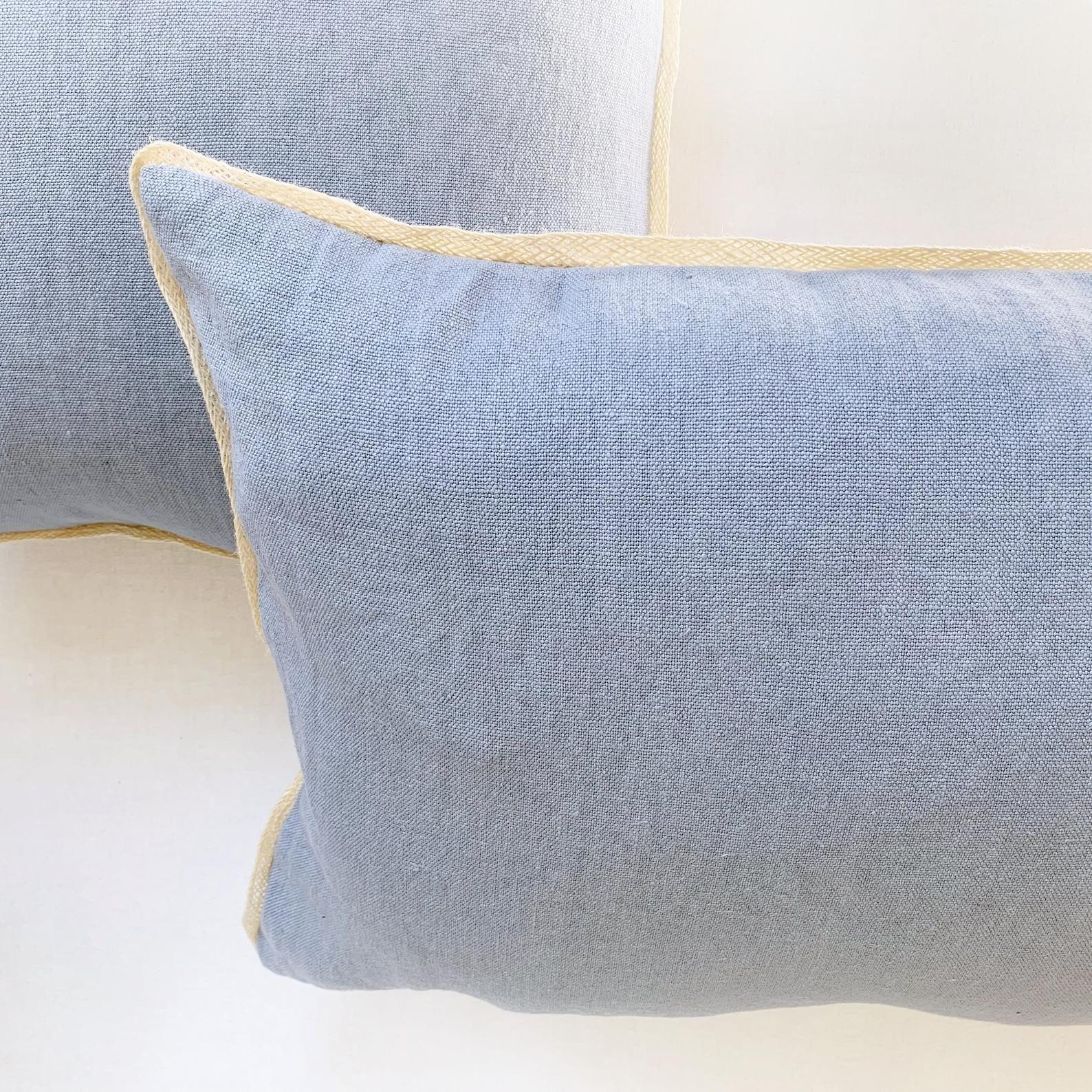 Italian Linen Pillow With Trim Large Lumbar Pillow Cover Blue Pillow Cover For Nautical Decor Large Pillows Long Lumbar Throw Cushion Lumbar Pillow Cover Linen Pillows Italian Linens
