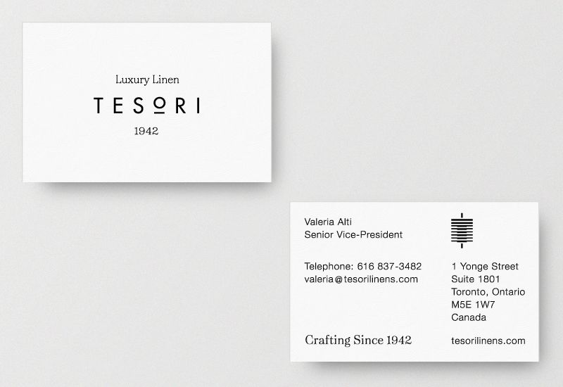 Brand identity and business cards for tesori luxury linen by richard graphic designers brand identity and business cards for tesori luxury linen by richard baird reheart Gallery