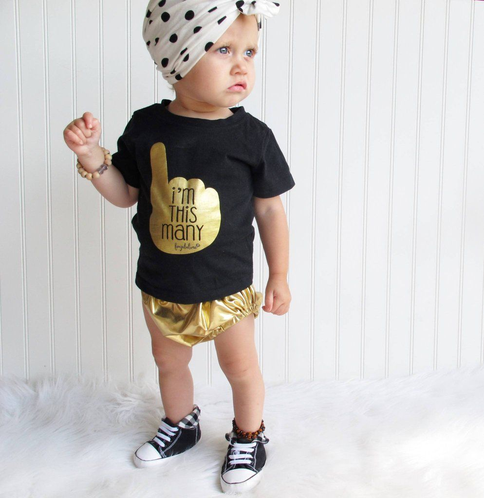 Find and save ideas about 1st birthday outfits on Pinterest. | See more ideas about Baby girl birthday outfit, First girl and Baby first outfit. One Birthday Shirt, Cake Smash, Birthday Girl Outfit, One Year Old Girl Birthday Outfit Baby girls first birthday outfit with knotted headband Gold Like this little outfit! So sweet 1 year old.
