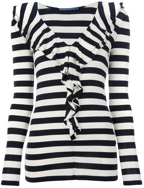 13f4ac507a6569 Women's White Striped Frill Top   Fashion   Frill tops, Tops ...