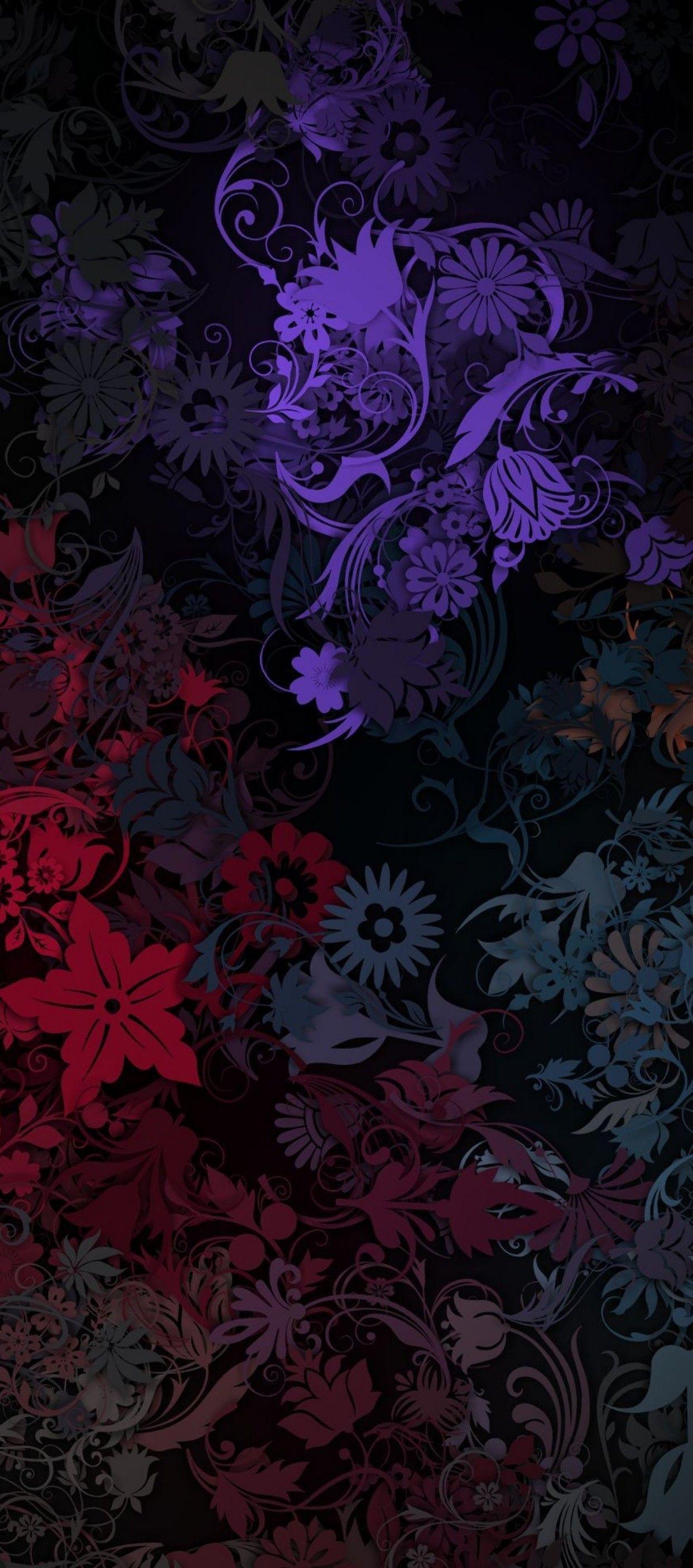 iOS 11, iPhone X, black, purple, pink, floral, simple