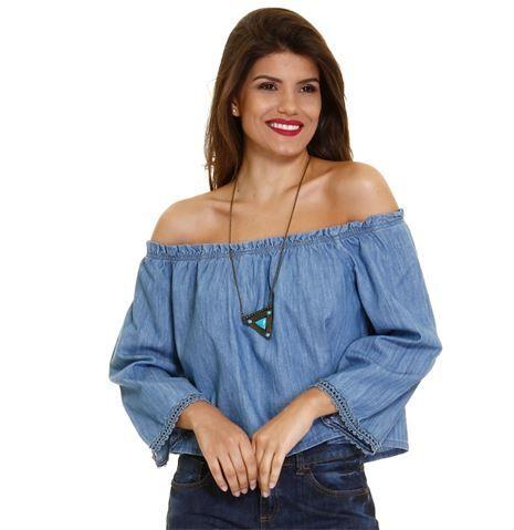 9e6a6be20d Blusa feminina em jeans modelo Ciganinha