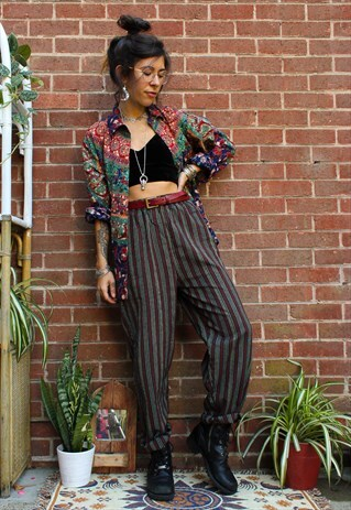 Fairtrade Green Striped Cotton Trousers   Adorned