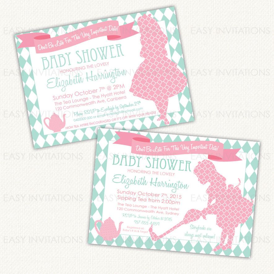 Alice in Wonderland Baby Shower Invitation, alice wonderland invite ...