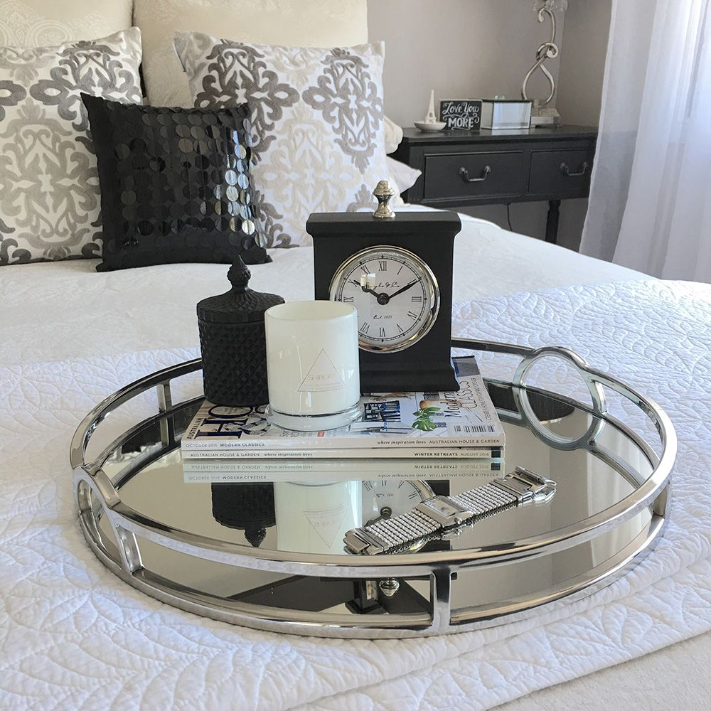 Round Silver Mirror Tray With Arch
