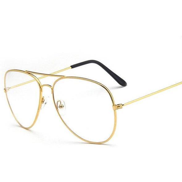 Silver Frame Retro Style Classic Aviator Eyeglasses Clear Lens Men Women Vintage