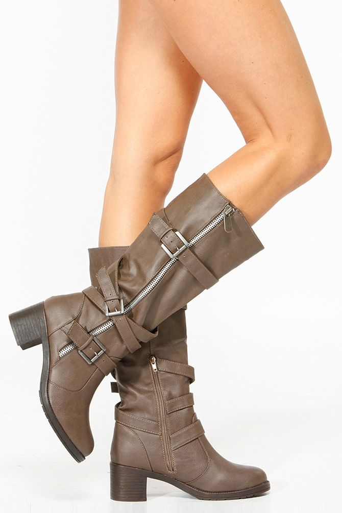 d8df306fa0f Bamboo Taupe Faux Leather Biker Boots   Cicihot Boots Catalog women s  winter boots