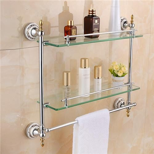 Ouku Wall Mount Bathroom Towel Shelf Two Floor Glass Surface Bath Shower Contemporary Double Bathroom Shelves Glass Shelves Decor Bathroom Shelves For Towels
