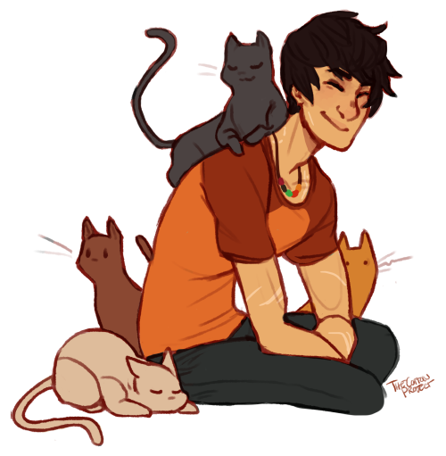 theory: stray cats swarm percy all the time in new rome because he smells like the ocean. he doesn't really mind but he has mentioned that he feels profiled.