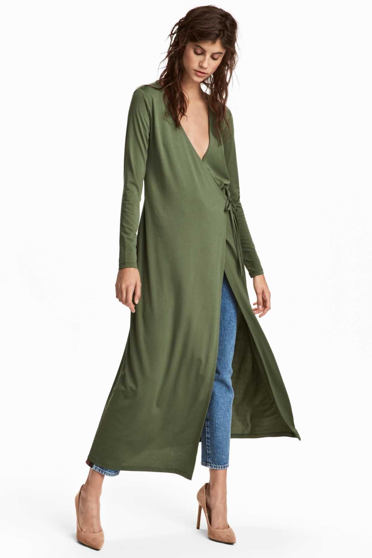 a249728d4 Khaki green. Long wrap dress in crêped jersey. V-neck