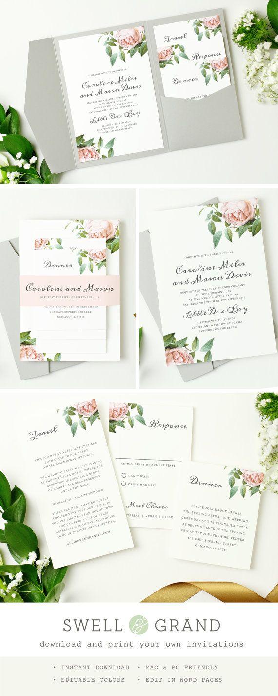 INSTANT DOWNLOAD | Printable Pocket Wedding Invitation | Vintage ...