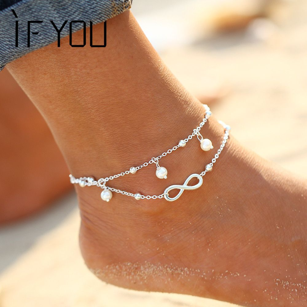 in hook beach barefoot female ankle tassel jewelry toe double accessories on bracelets foot anklets anklet bracelet from and item