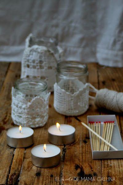 Como Hacer Un Portavelas De Crochet Y Tarros Reciclados Crochet Candle Holder Crochet Candle Candles