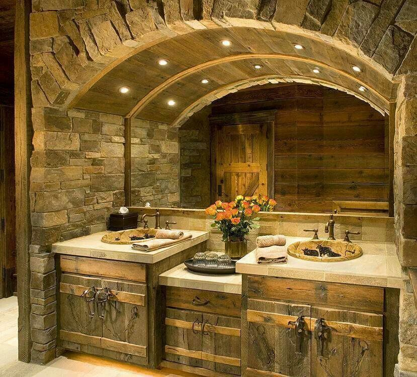 Rustic Bathroom Ideas Part - 24: Gorgeous Rustic Bath, Stone Arch Surround, Arched Wood, Hieroglyphics In  The Sink.