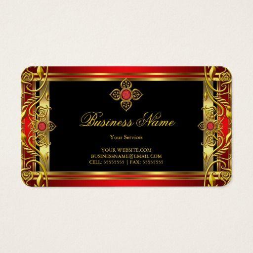 Elegant Ornate Royal Red Jewel Black Gold Business Card Zazzle Com Gold Business Card Red Business Cards Business Card Design Simple