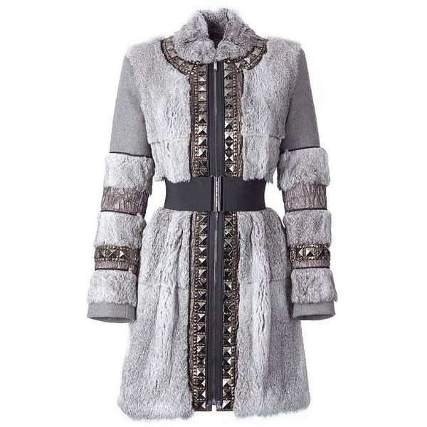 Stone Beaded Panelled Coat With Belt Matthew Williamson (€1.435) ❤ liked on Polyvore featuring outerwear, coats, jackets, dresses, fur, long gray coat, belted coat, knee length trench coat, knee length coat and gray coat