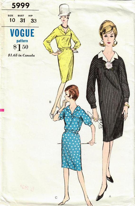 1960s Vogue 5999 Vintage Sewing Pattern Misses Slim Dress Chemise