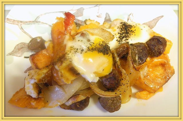 My Sweet and Savory: Baked Eggs with Sausage and Sweet Potatoes