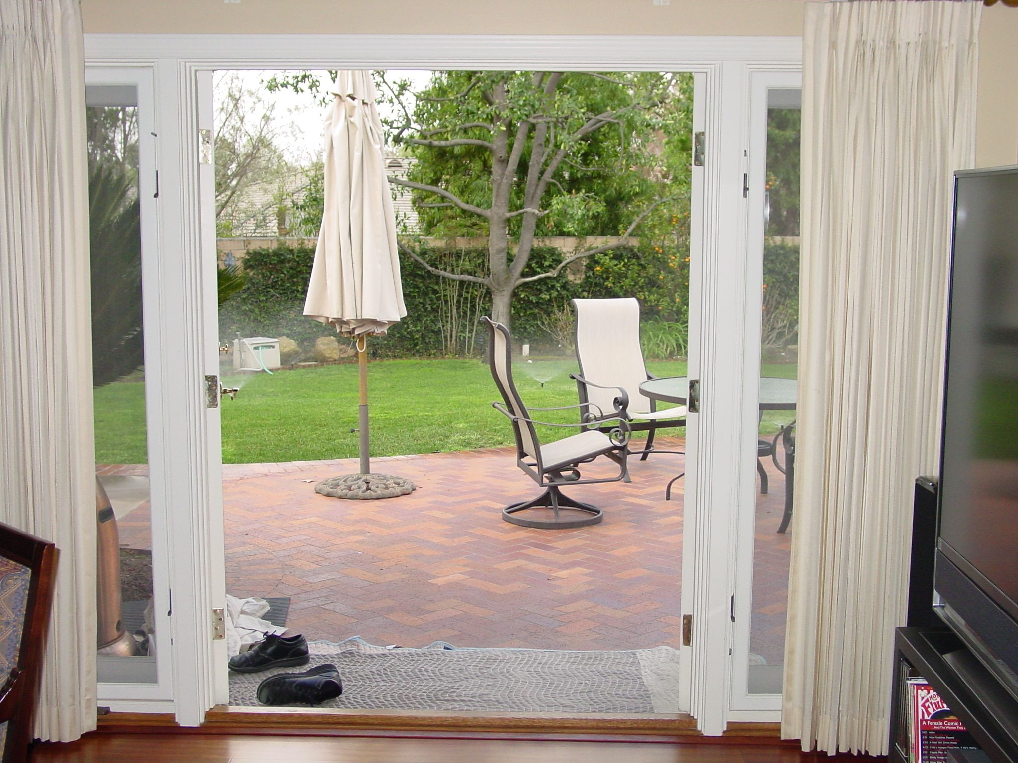 Amazing Exterior French Patio Doors | White StowAway Outswing French Door  Retractable Screen Just Installed