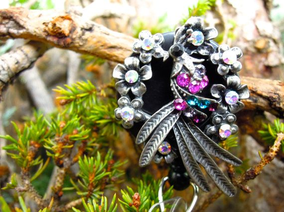 Colorful Peacock Badge Holder  Retractable by BadgeAlleybyGerAnne