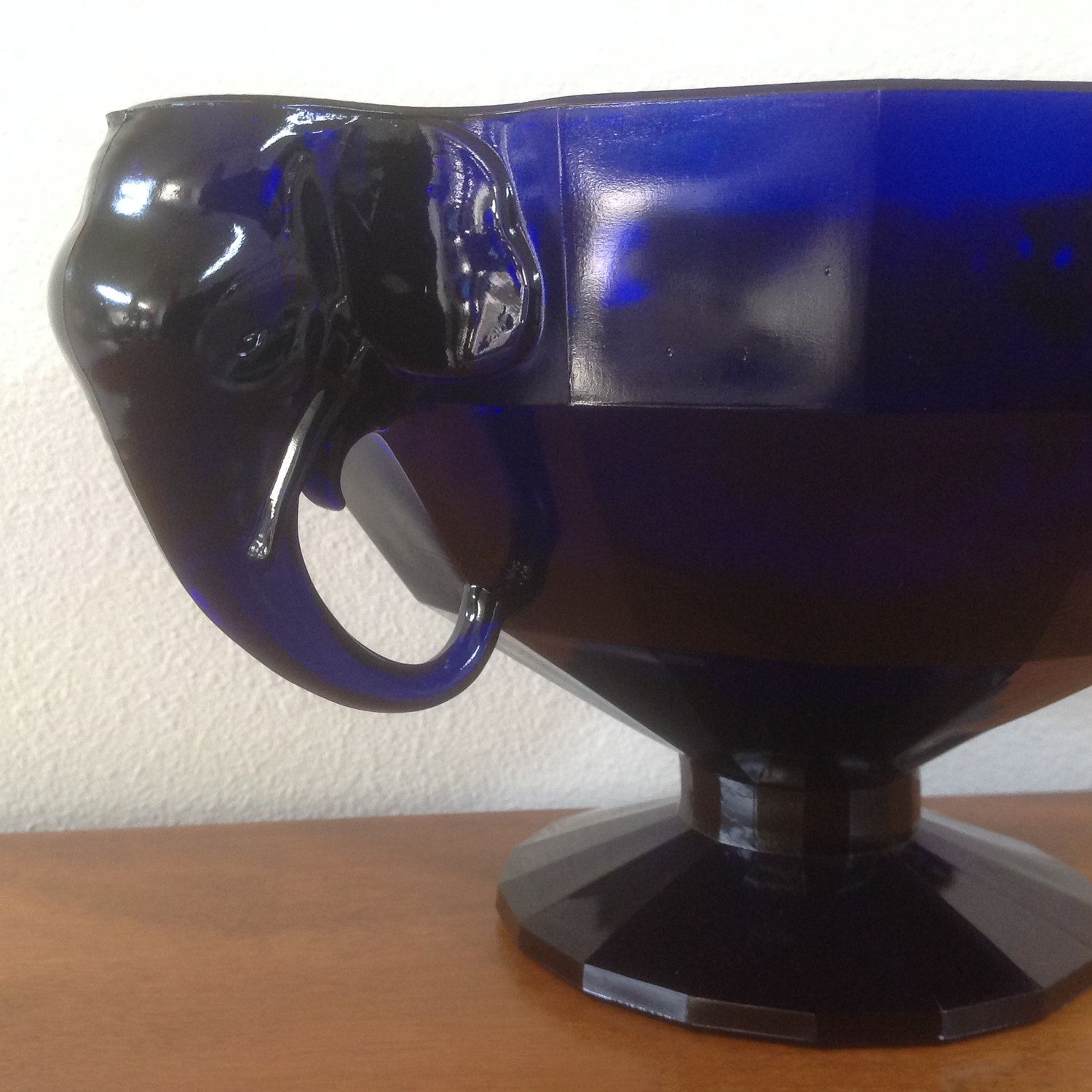 Elephant handled cobalt blue footed console bowl with