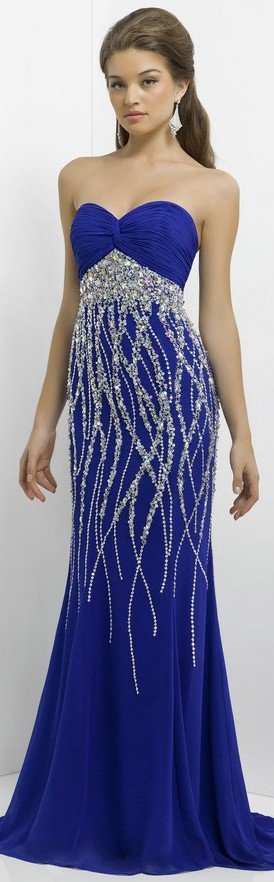 Long Strapless Blue Dress W/ Silver Sparkly Beading Detail.
