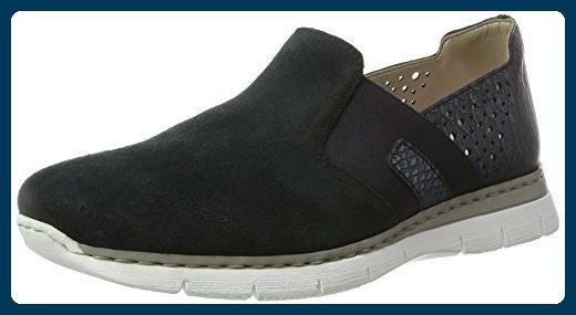 Rieker 41757 Women Loafers, Damen Slipper, Blau (atlantis/14), 36 EU