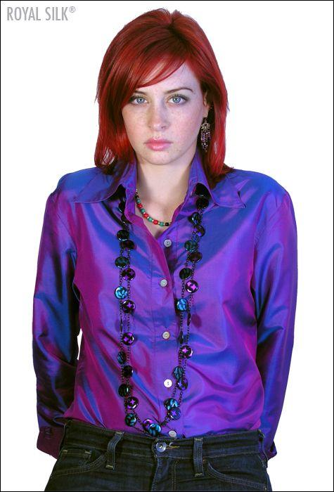 Iridescent Purple Silk Button Down Shirt, $35 by Royal Silk ...