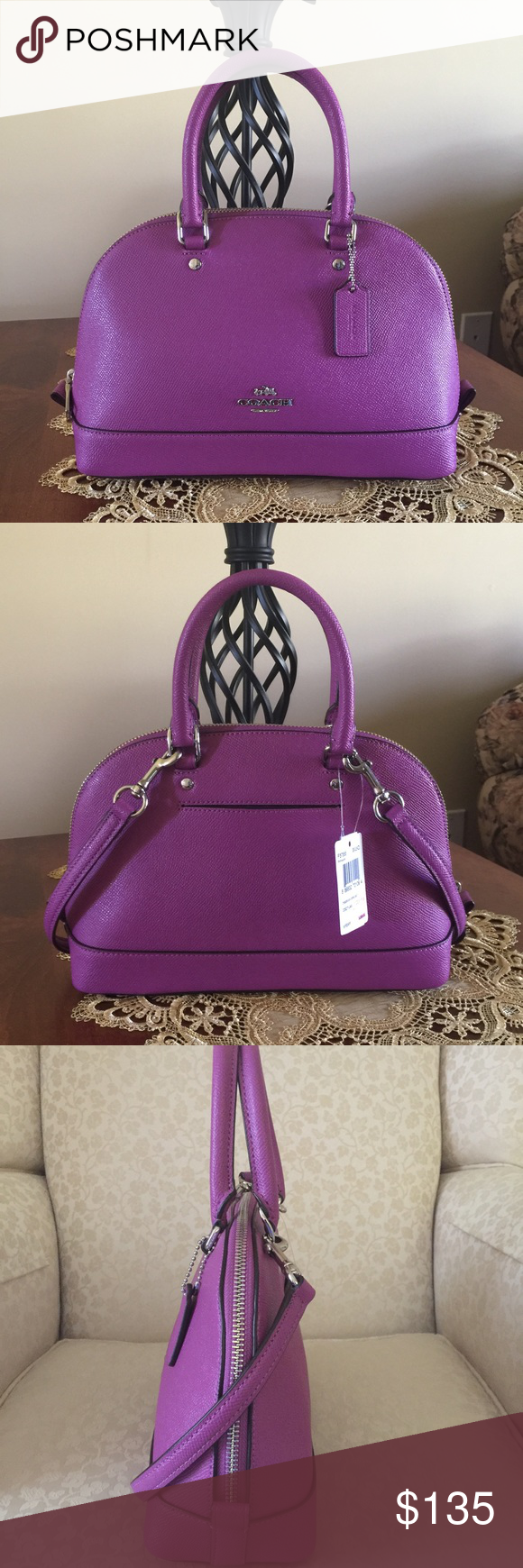 """💐Coach Mini Sierra Satchel💐 This adorable purse features an inside zip pocket and multi function pocket, zip top closure, silver tone hardware, fabric lining, handles with 3.5"""" drop, longer strap with 21.5"""" drop for shoulder or cross body wear, and an outside back pocket. Coach Bags Satchels"""