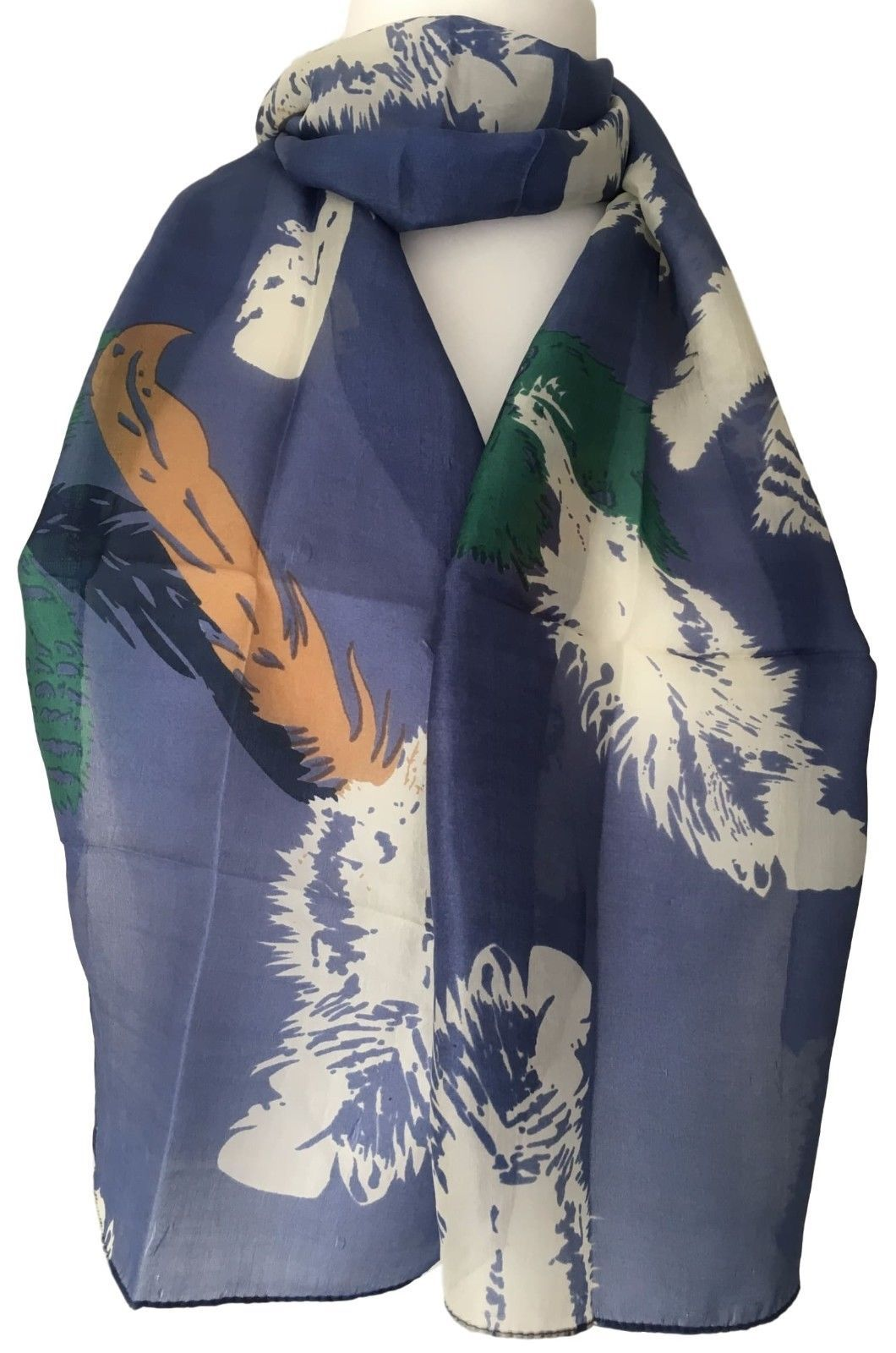 Navy Silk Scarf Turquoise Blue Love Heart 100/% Pure Silk Ladies Hearts Scarf New