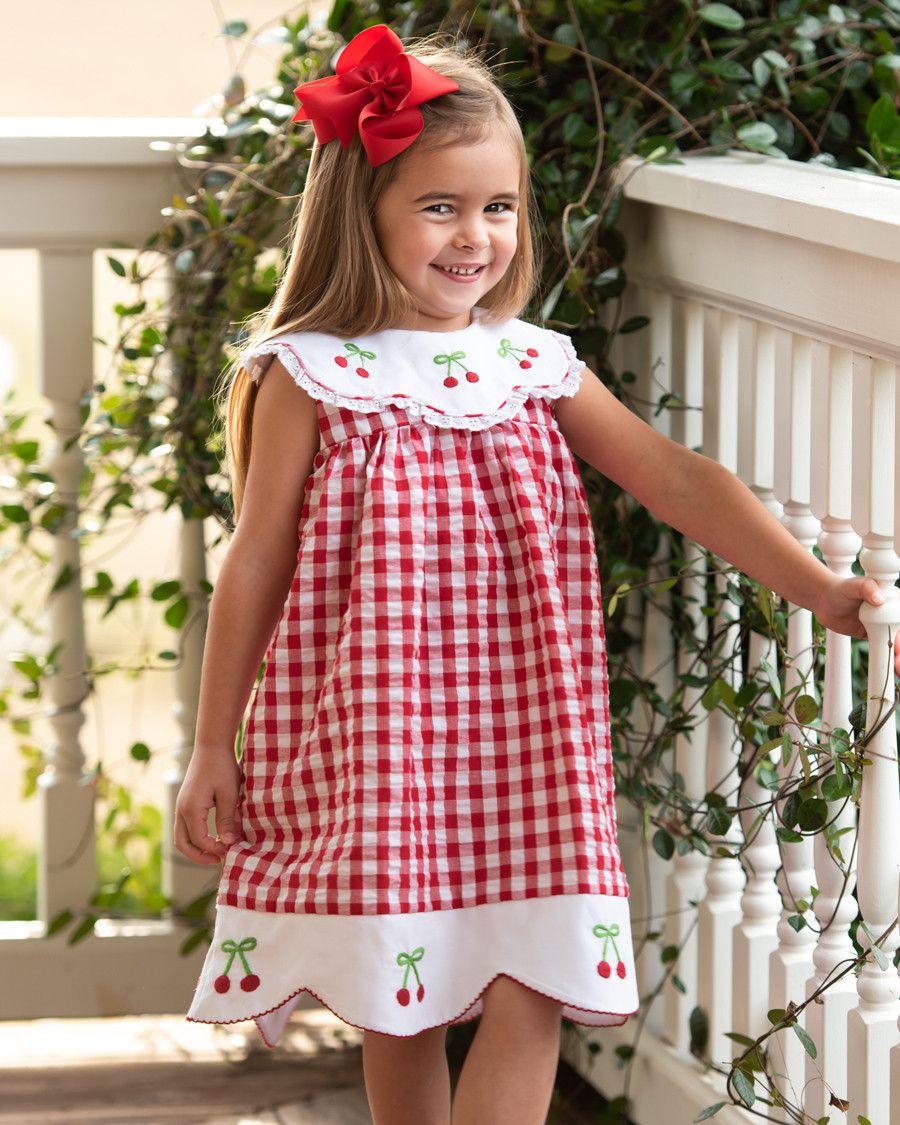 seersucker dress Girls vintage style summer jumper