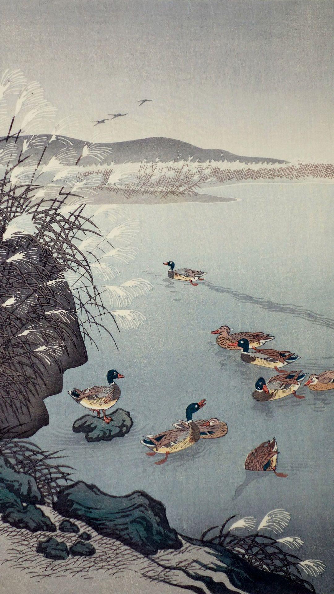 小原古邨 晩秋の池 Ohara Koson Banshu No Ike 1080 19 小原古邨 携帯電話の壁紙 日本美術