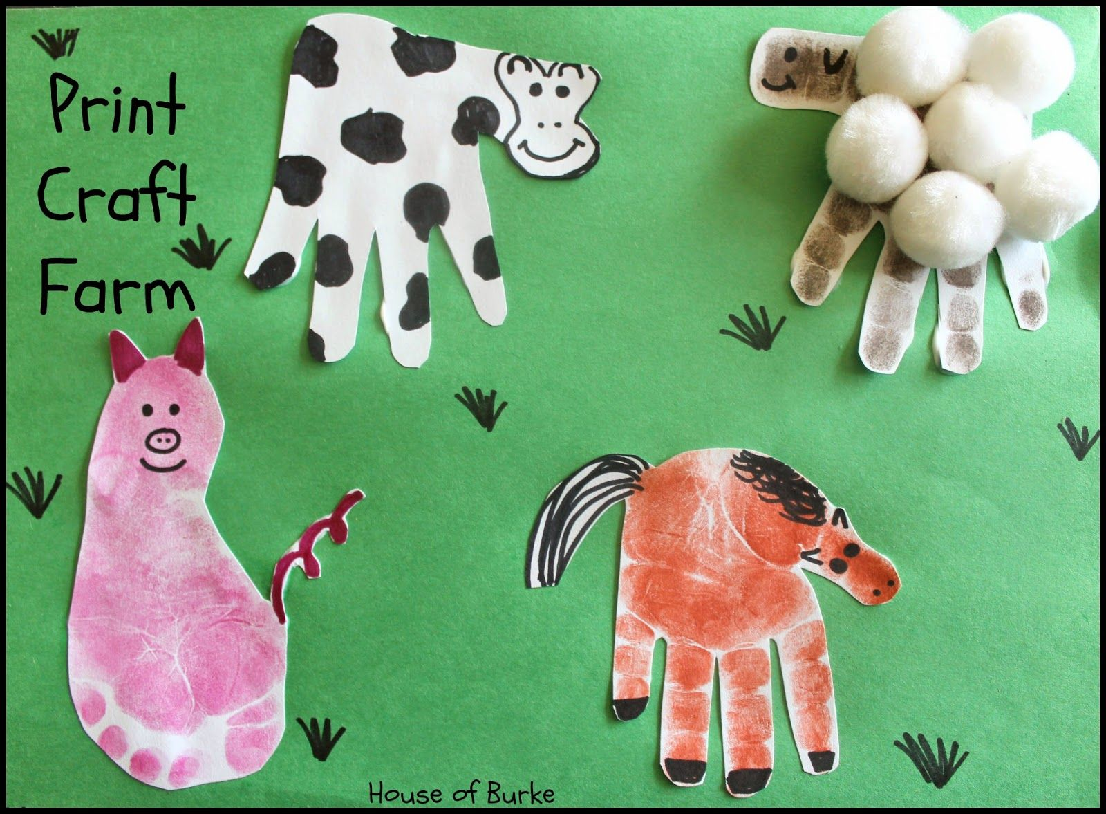 Handprint Farm Animals Art Craft for Toddlers
