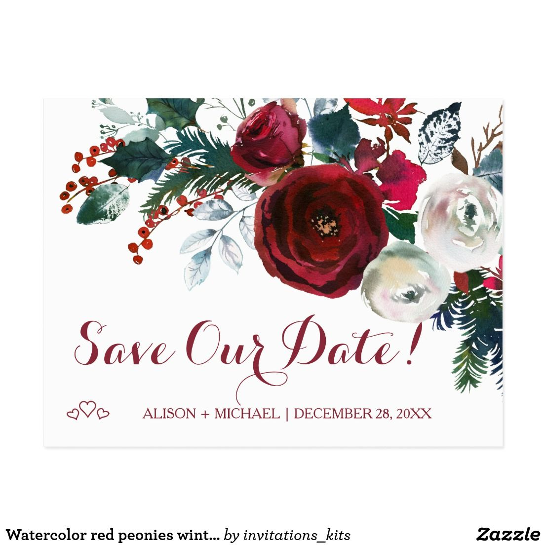 Watercolor red peonies winter wedding save date announcement ...