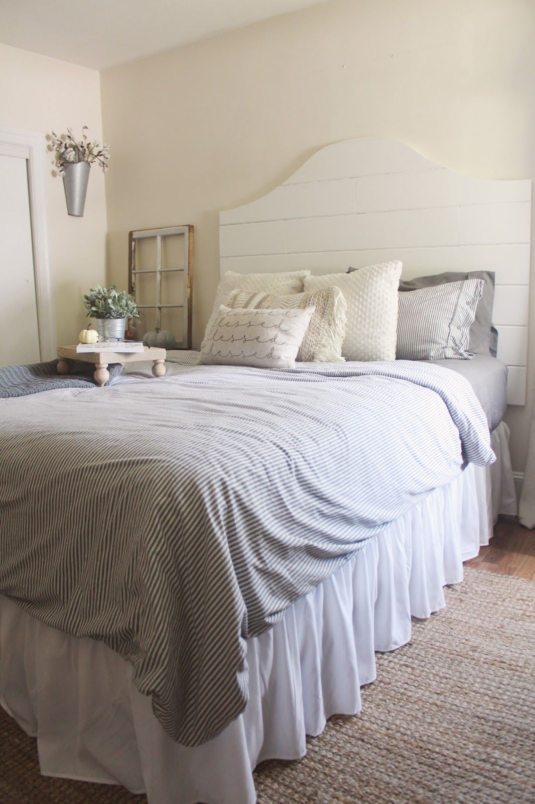 Fall bedroom shiplap headboard farmhouse home sweet home