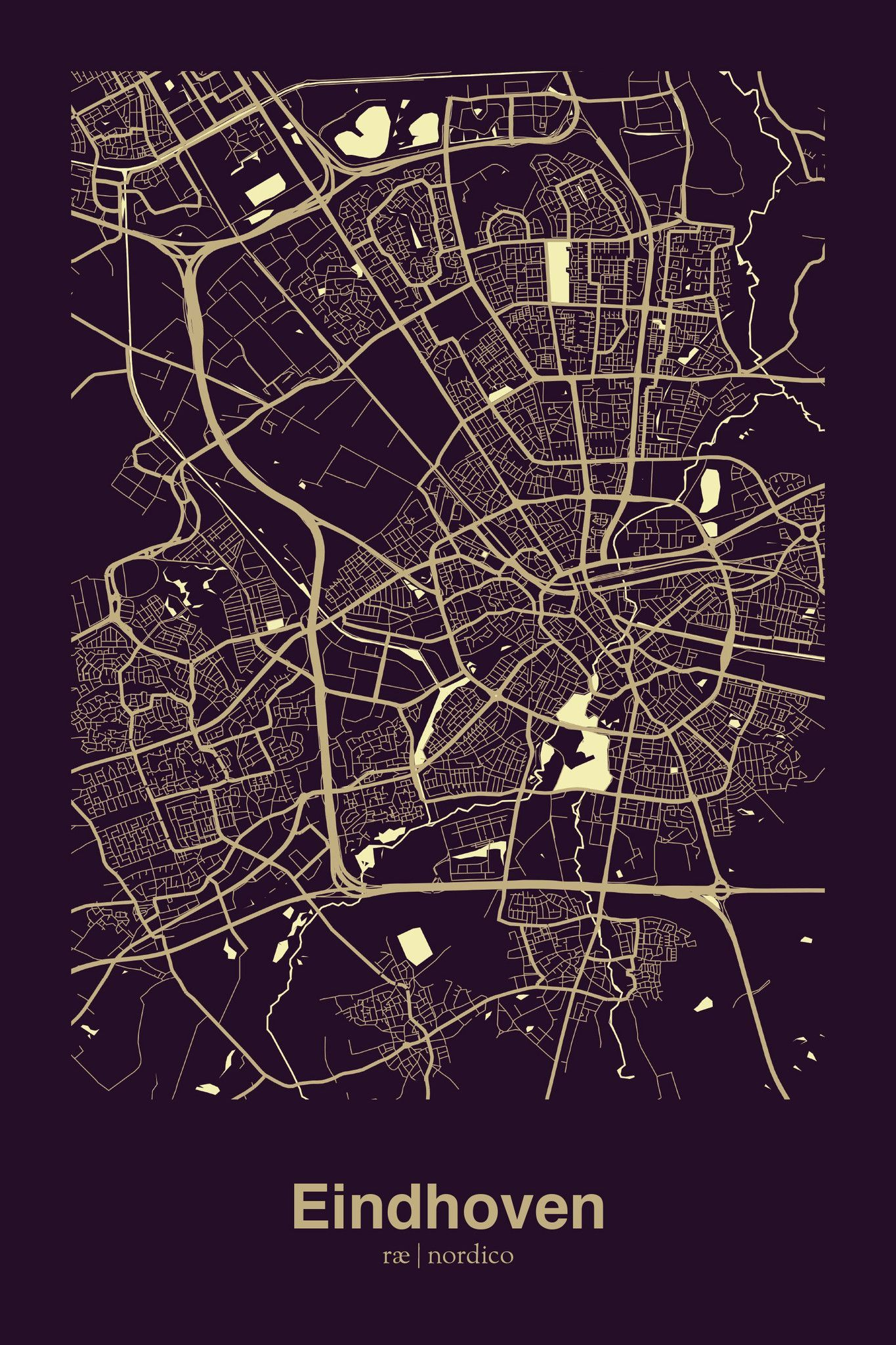 Eindhoven, Netherlands Map Print   art space map   Netherlands map ...