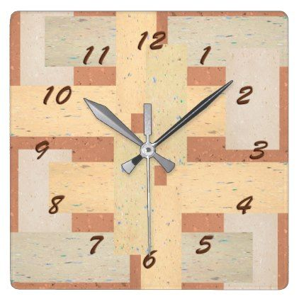 #trendy - #Brown and Tan Toned Old Floor Tile Look Square Wall Clock