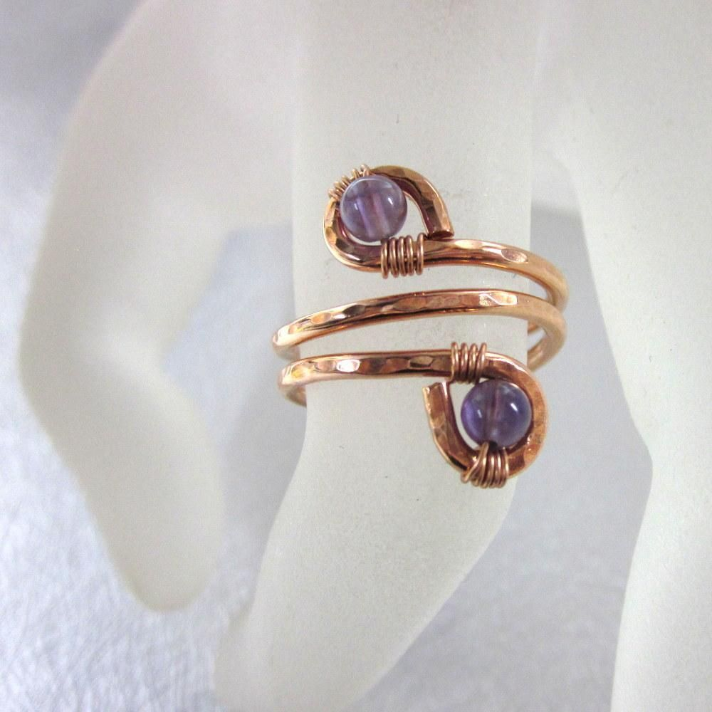 Adjustable Copper Amethyst Wire Wrap Finger And Toe Ring | Toe ...