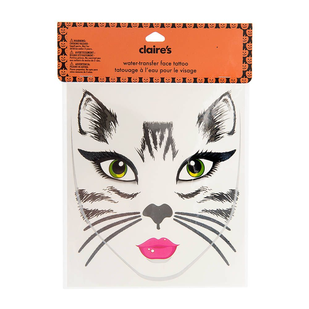 halloween black cat face tattoo | claire's | costumes & accessories