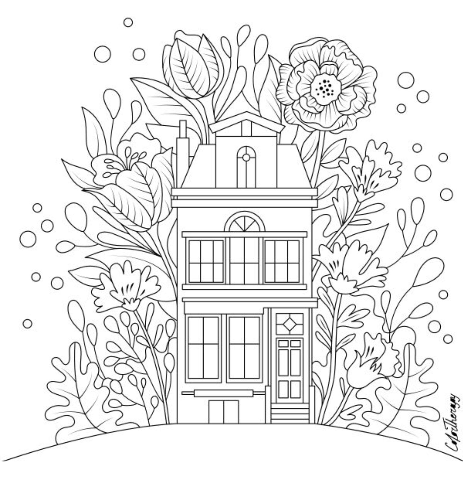 The Sneakpeek For The Next Gift Of The Day Tomorrow Do You Like This One House With Flowers With Images Cute Coloring Pages Color Therapy App Coloring Pages