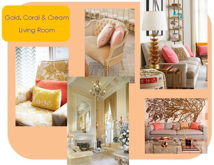 Gold, Coral U0026 Cream Living Room Home Decor Ideas   Gypsy Soul
